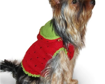 """Small dog clothes dog sweater """"Strawberry"""" small dog costume dog clothing Yorkie clothes Yorkie clothing Chihuahua clothing clothes S M L XL"""