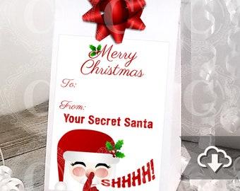 Secret Santa Gift Tags Printable Instant Download Christmas