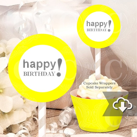 Yellow Birthday Cupcake Toppers Printable Instant Download Happy Party Decor Decorations