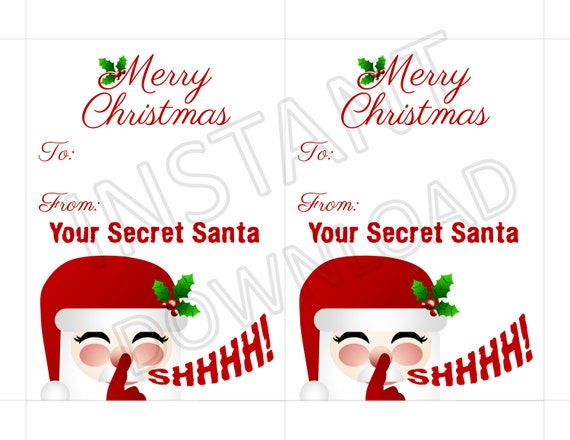 Secret Santa Gift Tag Stickers Printable Instant Download Christmas Gift Tag Stickers Merry Christmas From Your Secret Santa