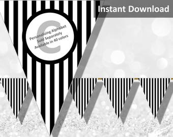 Black Stripe Halloween Bunting Pennant Banner Instant Download, Party Decorations