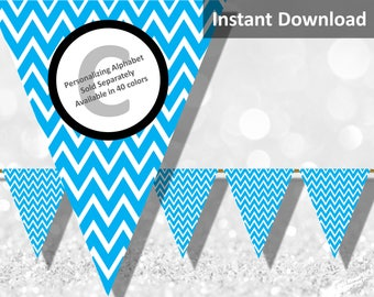 Turquoise Blue Chevron Bunting Pennant Banner Instant Download, Party Decorations