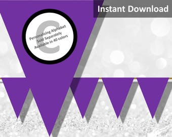 Purple Solid Birthday Party Bunting Pennant Banner Instant Download, Party Decorations