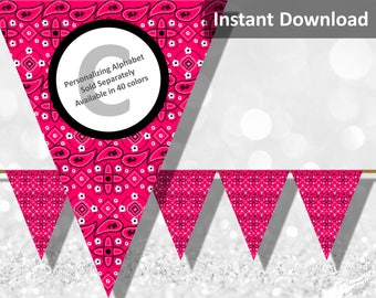Watermelon Hot Pink Bandana Banner, Bandanna, Country Western Bandana Party Decorations, Instant Download, DIY Printable Party Decorations