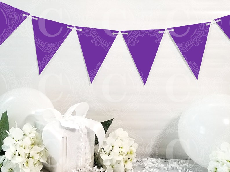 DIY Party Decorations by Cameo Party Designs Purple Garland PDF Printables Purple Banner Pennants