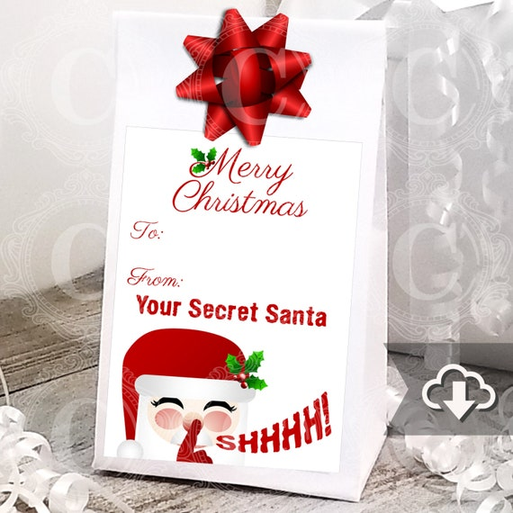 Secret Santa Gift Tag Stickers Printable Instant Download Christmas