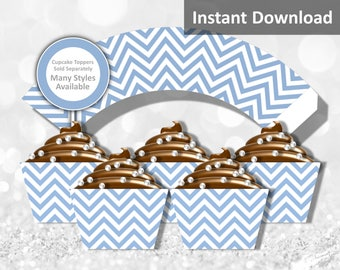 Baby Blue Chevron Cupcake Wrapper Instant Download - Jungle Baby Shower Decorations, Party Decorations