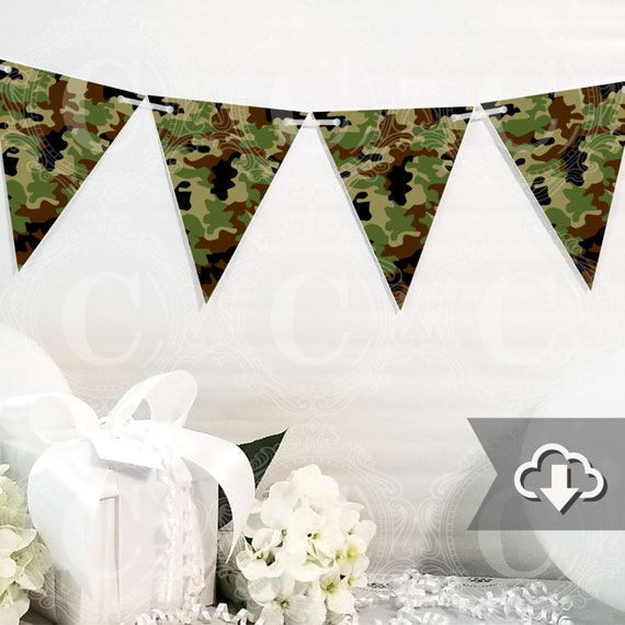 photograph relating to Camo Printable identify Camo Camouflage Banner Printable, Do-it-yourself Tailor made Banner, Seeking Bunting Banner Printable, Printable Occasion Decor, Instantaneous Down load