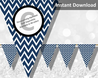 Dark Navy Chevron Bunting Pennant Banner Instant Download, Party Decorations