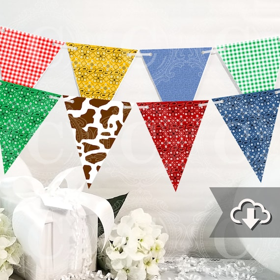 Kids Farm Party Decor Instant Download Brown Cow Print Blue Jean Gingham Country Banner Printable Bandana Farm Printable Party Decor