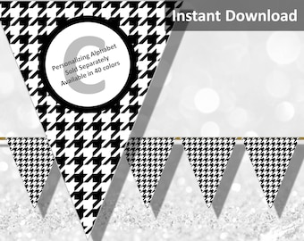 Black Houndstooth Halloween Bunting Pennant Banner Instant Download, Party Decorations