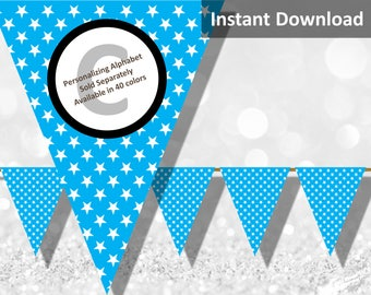 Turquoise Blue Star Bunting Pennant Banner Instant Download, Party Decorations