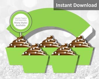 Solid Lime Green Cupcake Wrapper Instant Download, Party Decorations