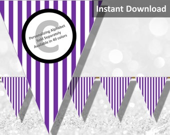 Purple Stripe Halloween Bunting Pennant Banner Instant Download, Party Decorations
