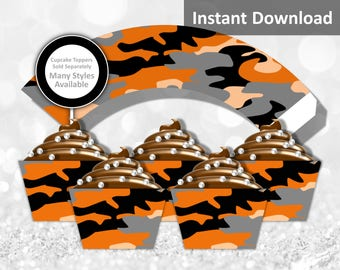 Orange Camo Cupcake Wrapper, Camouflage Party Decorations, Printable Party Decorations, Instant Download, Orange, Black, Gray, Peach