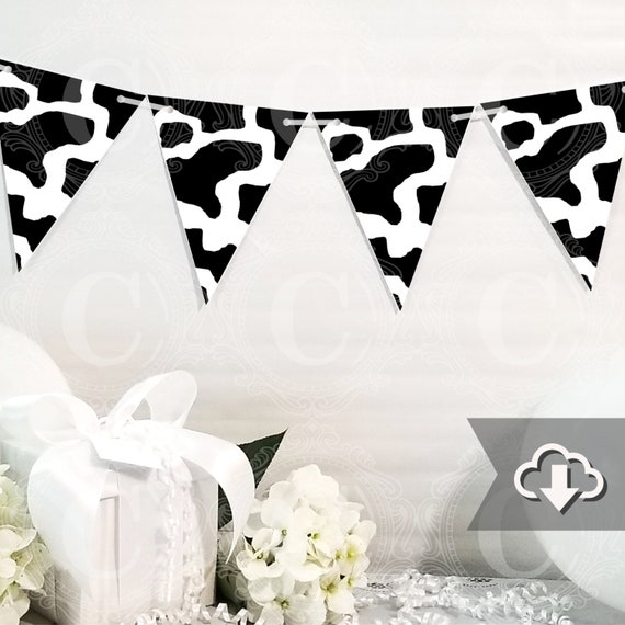 picture regarding Printable Cow Pattern named Black Cow Print Banner Printable, Do-it-yourself Tailor made Banner, Bunting