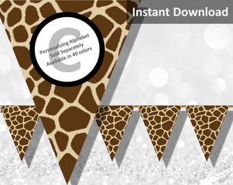 Giraffe Print Bunting Pennant Banner, Jungle Safari Party Decorations, Animal Print, Baby Shower, Instant Download