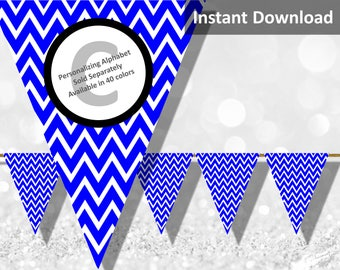 Royal Blue Chevron Bunting Pennant Banner Instant Download, Party Decorations