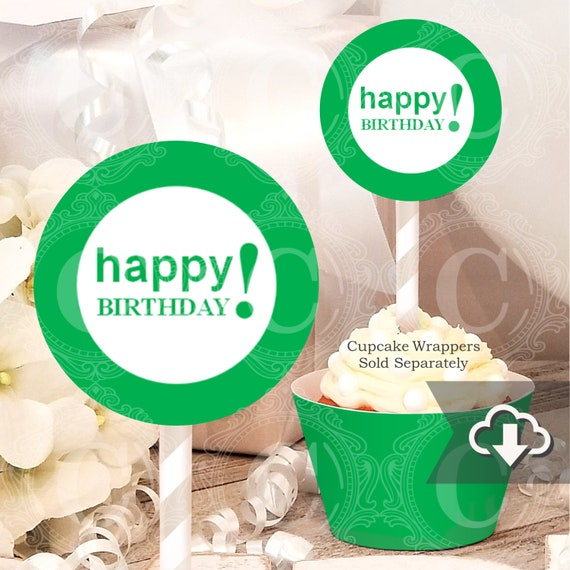 picture relating to Happy Birthday Cake Topper Printable named Environmentally friendly Birthday Cupcake Toppers Printable, Instantaneous Obtain