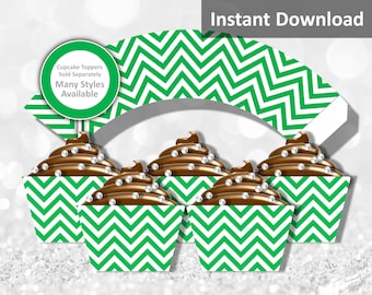 Green Chevron Cupcake Wrapper Instant Download, Party Decorations