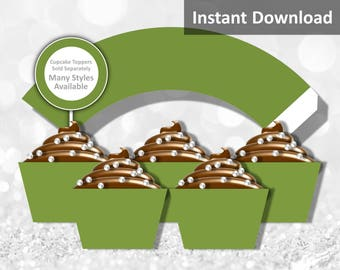 Solid Olive Green Cupcake Wrapper Instant Download, Party Decorations