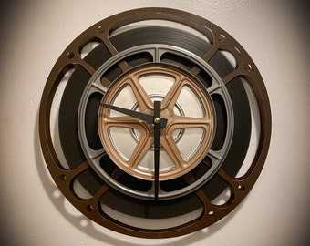 Brown and Copper Film Reel Clock, Industrial Media Room Decor, Film Student Gift, Theater Room Decor
