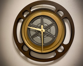 Brown and Gold Film Reel Wall Clock, Theater Room Clock, Home Theater Decor, Housewarming Gift For Movie Lovers