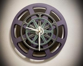 Purple and Gray Film Reel Wall Clock, Home Theater Decor, Mid Century Clock For Wall, Movie Memorabilia