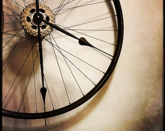 Bicycle Wheel Clock, Industrial Decor, Steampunk Clock For Wall, 1st Anniversary Gift For Cyclist