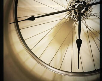 Bike Wheel Clock, Large Wall Clock, Cyclist Gift, Bike Clock For Wall, Industrial Decor