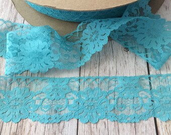 5 yards turquoise lace trim 2 1/2 inch width