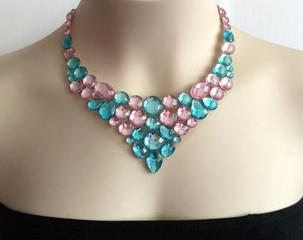 aqua blue and light pink collar bib tulle  necklace, wedding, bridesmaids necklace.