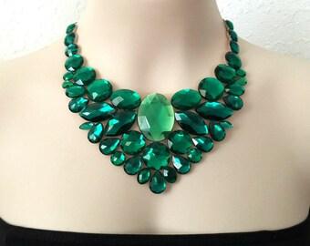 bib emerald necklace - emerlad green rhinestone bib necklace