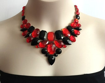 red bib collar necklace - red and black rhinestone bib necklace.