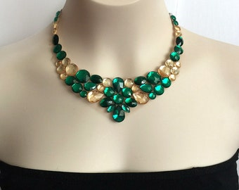 tulle necklace - emeralde and light topaz bib collar tulle necklace