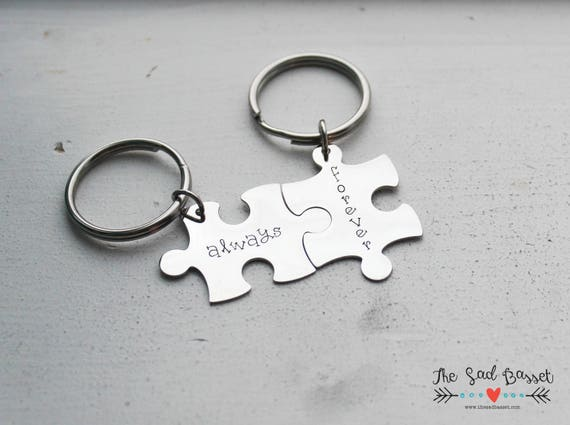 Wedding Gift Anniversary Keychains Couples Keychain Set - Hand Stamped Personalized Couples Puzzle Piece Keychain Set