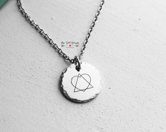 Adoption Necklace | Simple Dainty Necklace | Adoption Jewelry | Mother's Necklace | Pewter Jewelry | Hand Stamped Adoption Symbol Necklace