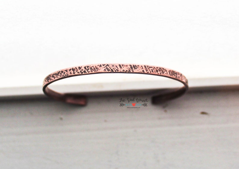 Inspirational Jewelry Thin Stacking Bracelet Unapologetic Copper Cuff Bracelet Inspirational Quote Jewelry  Valentine Secret Message
