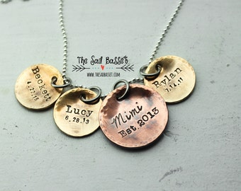 Personalized Hand Stamped Mixed Metal Grandmother's Pendant | Mimi Jewelry | Grammy Jewelry | Grandchild Necklace | Personalized Jewelry