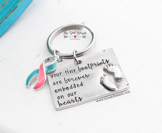 Your Tiny Footprints Pregnancy & Infant Loss Quote Keychain | PAIL  Awareness | Awareness Jewelry | Miscarriage Memorial Jewelry | Keychain