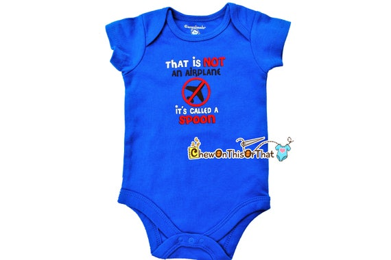 """New Infant Baby Blue bodysuit Size Newborn /""""that Is Not An Airplane.../"""""""
