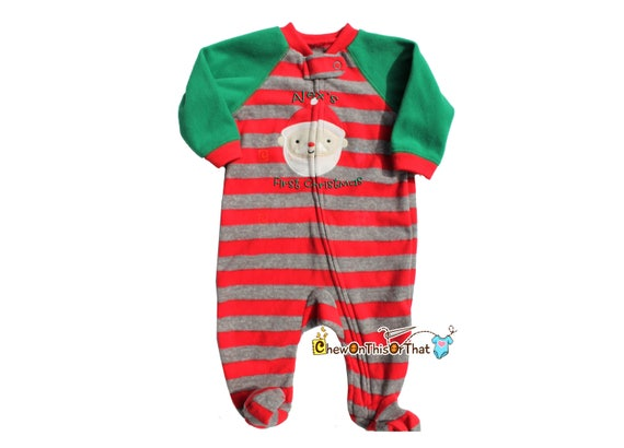 5cb2d11c5a Striped Green Red   Gray Santa Pajama Personalized Baby First