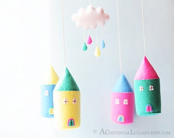 Cloud Rain House Mobile, Rainy Day, Pink Yellow Blue, Cloud Mobile, Rain Mobile, Cloud and Rain, Cloud Nursery Decor, Baby Girl Nursery