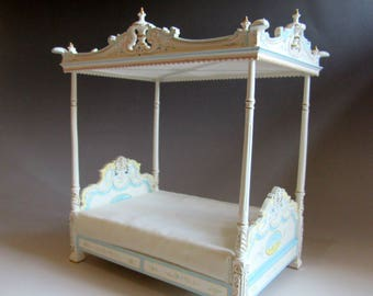 12th Scale - Dolls House - French Four Poster Bed ~ Hand Painted ~ Detailed Canopy ~ Ivory with Paintings
