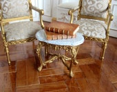 1 12th scale Dolls House 18th Century Louis XV Style Gilded table with Faux Marble top.