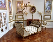 1 12th scale Dolls House Romantic Grande Duchess Bed 18th Century Thomas Sheraton Design Finished in Gold