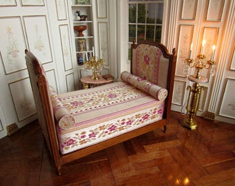 12th Scale - Dolls House - French Duchesse Bed ~ Walnut Finish ~ Dressed with Brocade