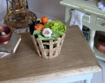 1:12th scale ~ Dolls House ~  Selection of Fresh Vegetables in Wooden Basket ~ Country Kitchen display
