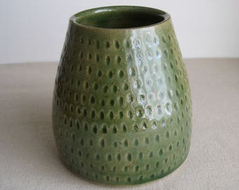 Ceramic Vase, Hand Thrown Stoneware Pottery, Gloss Green Glaze, Handmade