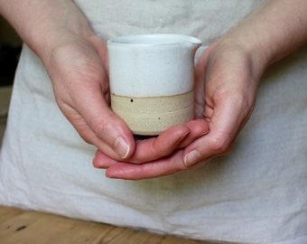 Jug - Mini Creamer, White Stoneware Milk Jug, Rustic Pourer, Hand Thrown Pottery